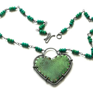 enamel green heart necklace