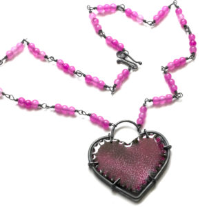 Pink Enamel Heart Necklace
