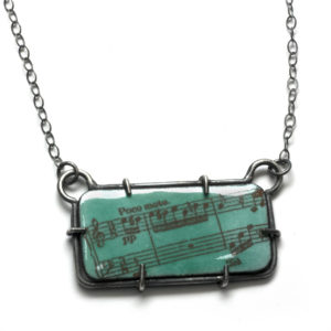 Sterling silver and enamel music necklace