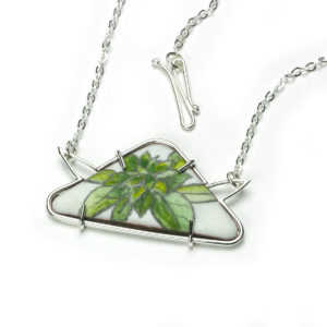 triangle botanical necklace in graphite and acrylic enamels
