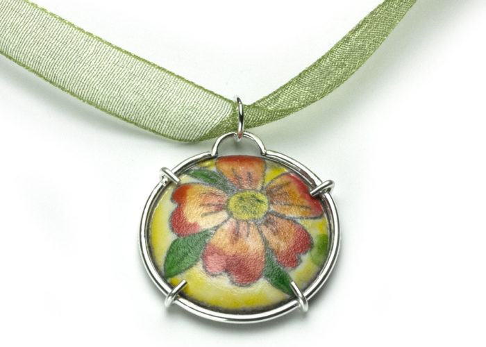 Red Flower Enamel Charm
