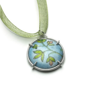Blue and green floral enamel charm necklace
