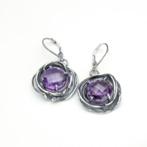 Amethyst Earrings with sterling silver swirls