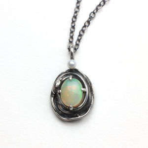 Sterling Silver, opal and pearl necklace