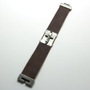 leather bracelet with sterling cross