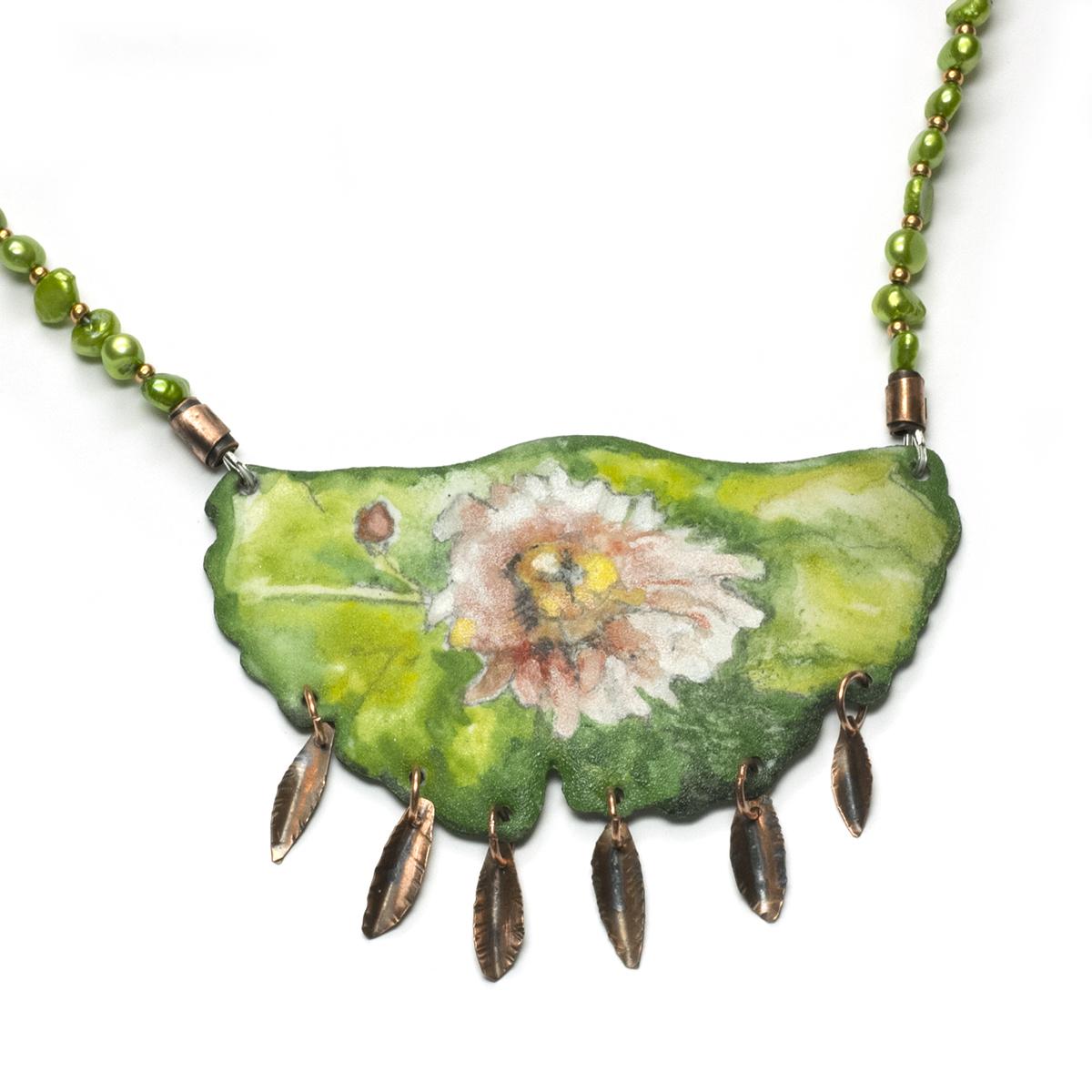 Enamel flower statement necklace